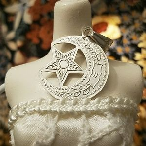 Jewelry - Sterling Silver Moon & Star Pendant